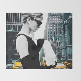 """Photo Montage """"Audrey in The City"""" Throw Blanket"""