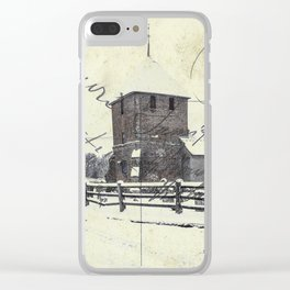 Old English Winter Church Scene - Postcard Style Clear iPhone Case