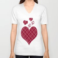 burgundy V-neck T-shirts featuring Burgundy Pattern by Christina Rollo