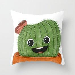 Smiling Barrel Cactus Cartoon Throw Pillow