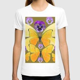 SPRING PURPLE PANSY FLOWERS & YELLOW BUTTERFLIES GARDEN T-shirt