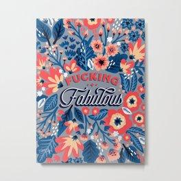 F*cking Fabulous – Denim & Coral Palette Metal Print