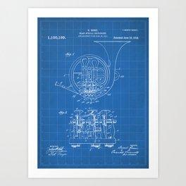 French Horn Patent - Horn Player Art - Blueprint Art Print