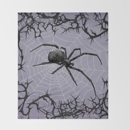 Briar Web - Gray Throw Blanket