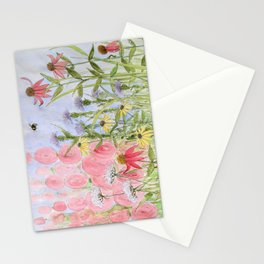 Botanical Floral Watercolor Pink Blue Yellow Flowers Blue Skies Stationery Cards