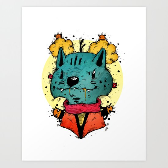 Wolfy (Color Version) Art Print