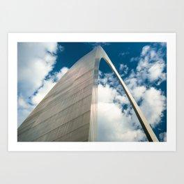 Saint Louis Gateway Arch and Puffy Clouds - High Dynamic Range Art Print