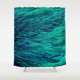 Teal Feathers Shower Curtain