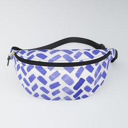 Cute watercolor knitting pattern - blue Fanny Pack