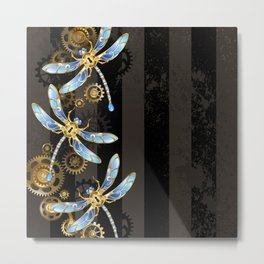 Steampunk Design with Mechanical Dragonflies Metal Print