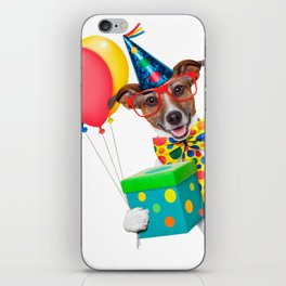 Birthday Dog With Balloons Tie and Glasses iPhone Skin