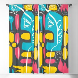 Blue Pink Yellow Cool Monsters Street Art Decoration Blackout Curtain