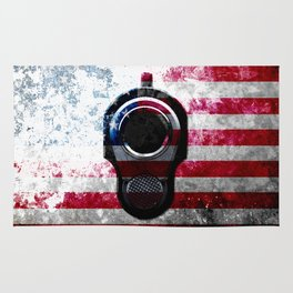 M1911 Colt 45 and American Flag on Distressed Metal Rug