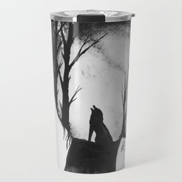 All in her Head in black and white Travel Mug