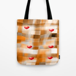 Little Red Hearts over Amber Tiles Tote Bag