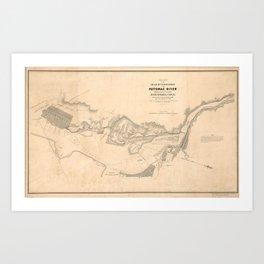 Vintage Map of The Potomac River (1838) Art Print