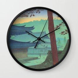 Asano Takeji Japanese Woodblock Print Vintage Mid Century Art Teal Turquoise Sunrise Shrine Wall Clock