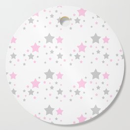 Pink Grey Gray Stars Cutting Board