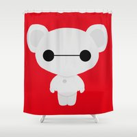 baymax Shower Curtains featuring Baymax Teddy by DJ066