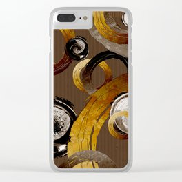 Big Dark Brass Yellow and Brown Rings and Circles Clear iPhone Case