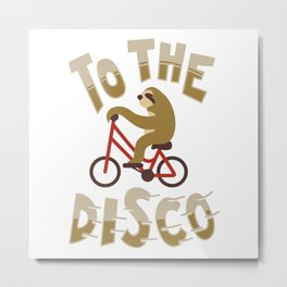 Funny Cute Sloth To The Disco Bicycle Animal Retro Gift Metal Print