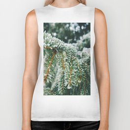 Evergreen Branch with Snow (Color) Biker Tank