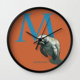 M is for Manatee: Under Appreciated Animals™ ABC nursery decor sea life red unusual animals Wall Clock