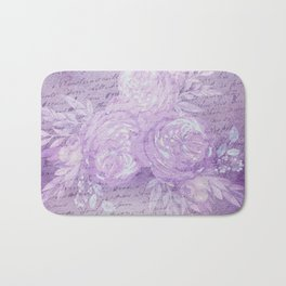 Pressed Violet and Purple Flowers Bath Mat
