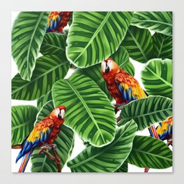 tropical leaves macaw pattern Canvas Print