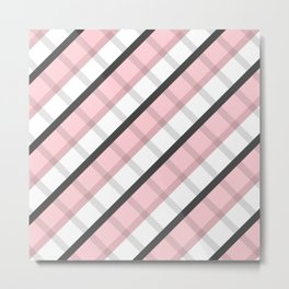 Pink Gray White Square Abstract Stripes Geometic Pattern Metal Print
