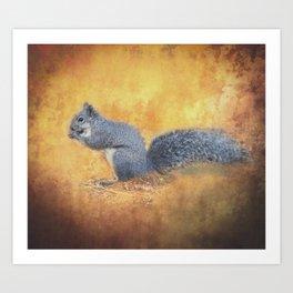 Autumns Squirrel Art Print