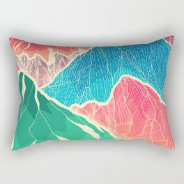 The glowing rocks of the mountains Rectangular Pillow