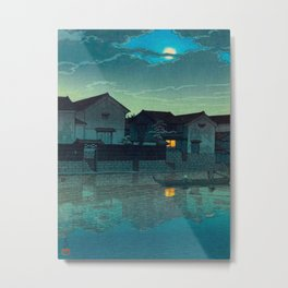 Kawase Hasui Vintage Japanese Woodblock Print Japanese Village Under Moonlight Cloudy Sky Metal Print