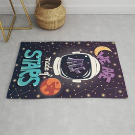 We are all made of stars, typography modern poster design with astronaut helmet and night sky Rug