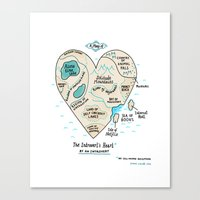 map Canvas Prints featuring A Map of the Introvert's Heart by gemma correll