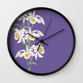 Floral fling in ultra violet Wall Clock