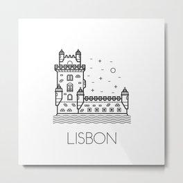 Belém Tower Lisbon Portugal Black and White Metal Print