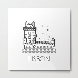 Belém Tower Lisbon Portugal Black and White Metal Print