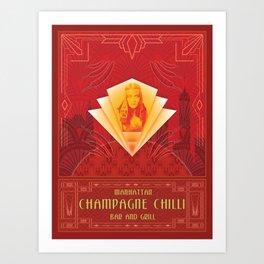 Champagne Chilli Art Print