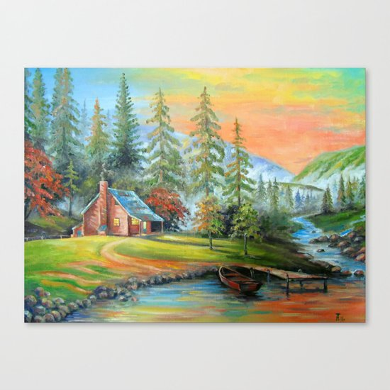 House at the mountain river Canvas Print