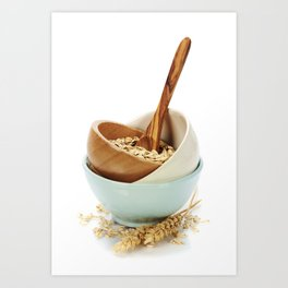 bowl of oat flakes on white background Art Print