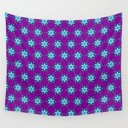 Star and Flower Pattern on Purple Wall Tapestry