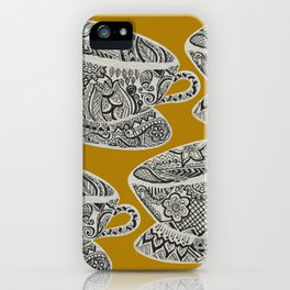 Morning Cuppa! - tea coffee lover zentangle iPhone Case