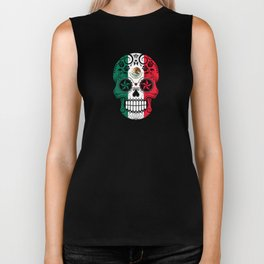 Sugar Skull with Roses and Flag of Mexico Biker Tank