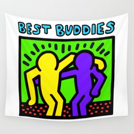 """Keith Haring inspired """"Best Buddies"""" Complementary Color Y&P edition Wall Tapestry"""