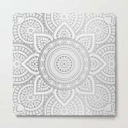 Silver Mandala Pattern Illustration Metal Print