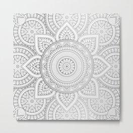 Silver Mandala Pattern Illustration Metal Print