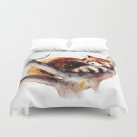 red panda Duvet Covers featuring Red Panda by Anna Shell