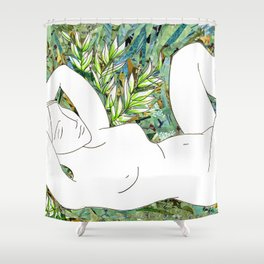 Nude with Green Flowers Shower Curtain