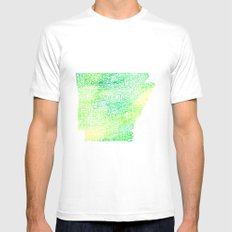 Typographic Arkansas - Green Watercolor MEDIUM White Mens Fitted Tee